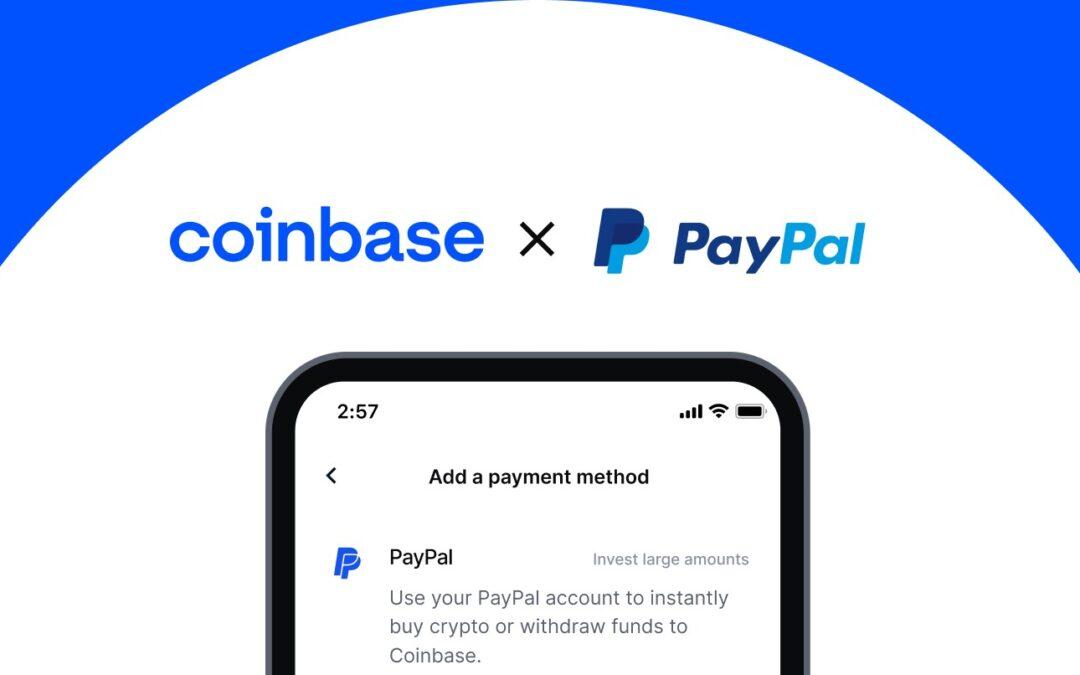 Coinbase ora consente di acquistare criptovaluta con PayPal