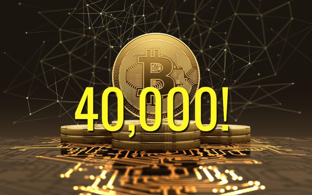 Bitcoin supera i 40K dopo 19 giorni